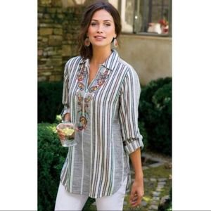 Soft Surroundings Aruba Embroidered Striped Top